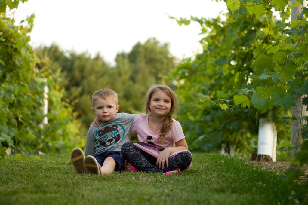 Declan and Naylyn in the vineyard